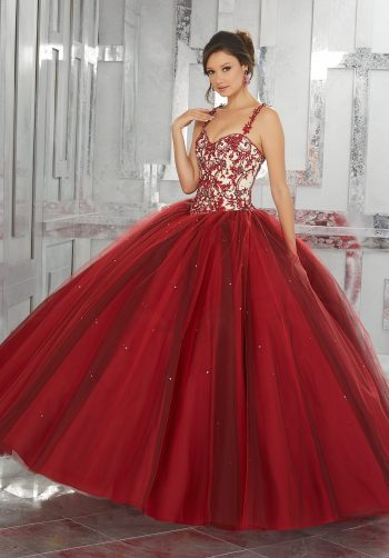 766335ecd7c Contrasting Embroidery with Beading on a Layered Tulle Ball Gown