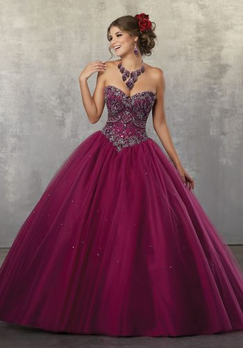 be2897470f4 Rhinestone and Crystal Beading with Embroidery on a Tulle Ball Gown