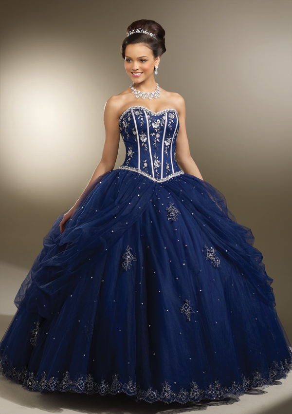 ea8593d6826 Home   Quinceanera Dresses   Vizcaya Collection   Satin and Tulle with  intricate Embroidery Quinceanera Dress