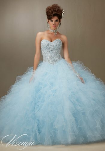 eedbc9cf24bc Pearl Beaded Bodice on a Ruffled Tulle Quinceanera Dress