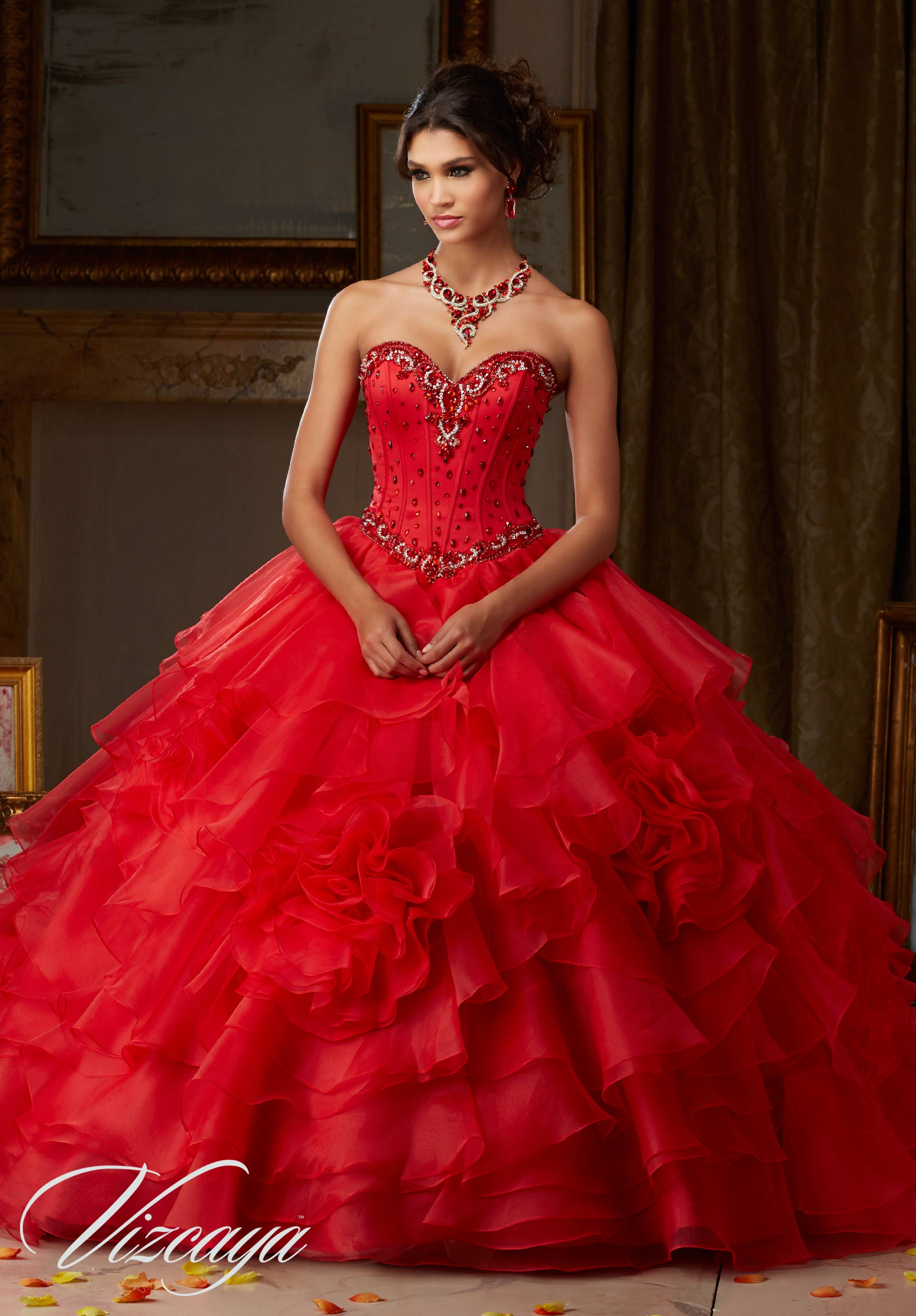 0fb1cd2bf4 Home   Quinceanera Dresses   Vizcaya Collection   Jeweled Satin Bodice on  Flounced Organza ...