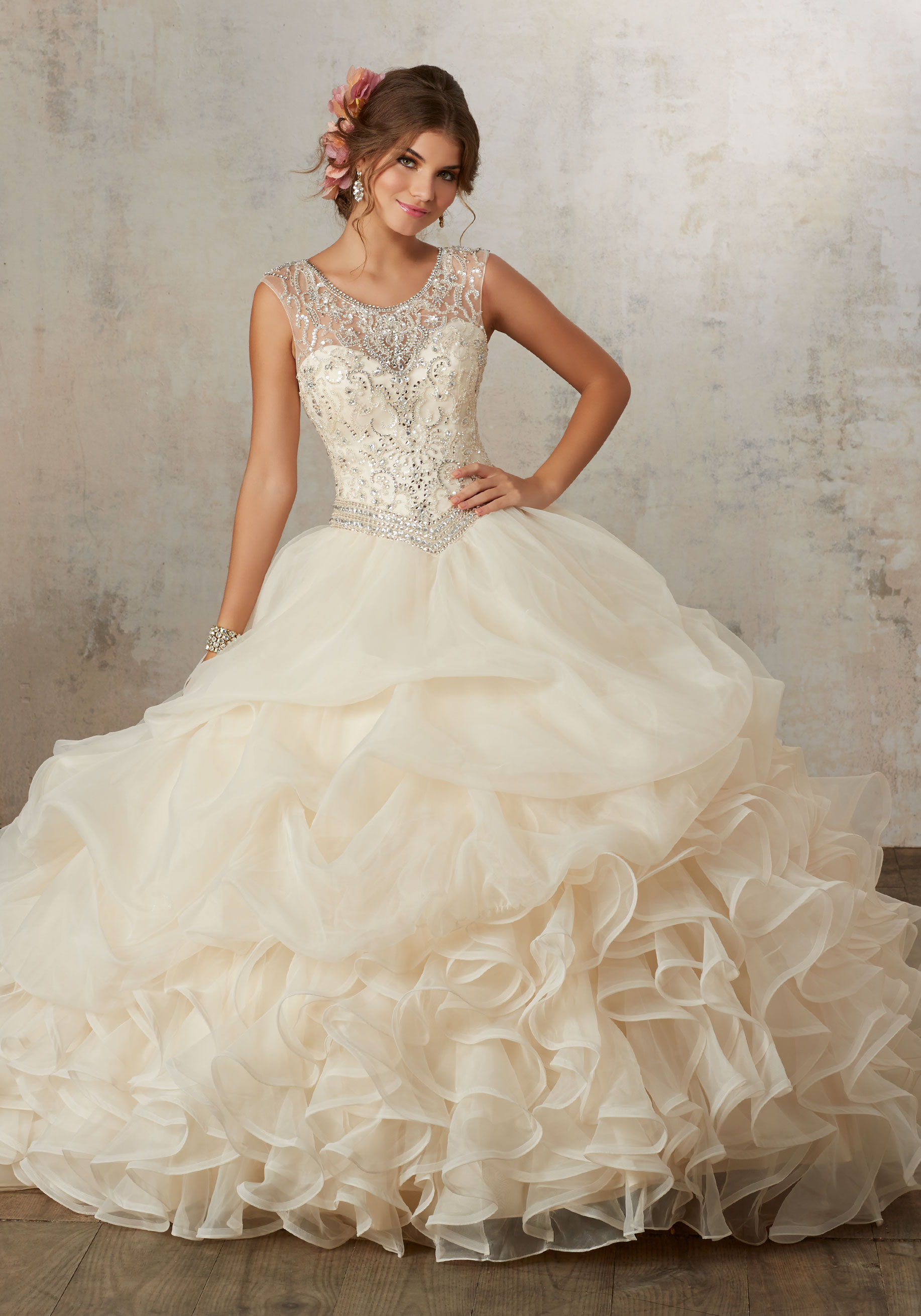 552787a3ae0b Home / Quinceanera Dresses / Vizcaya Collection / Jeweled Beading on a  Ruffled Organza Ballgown