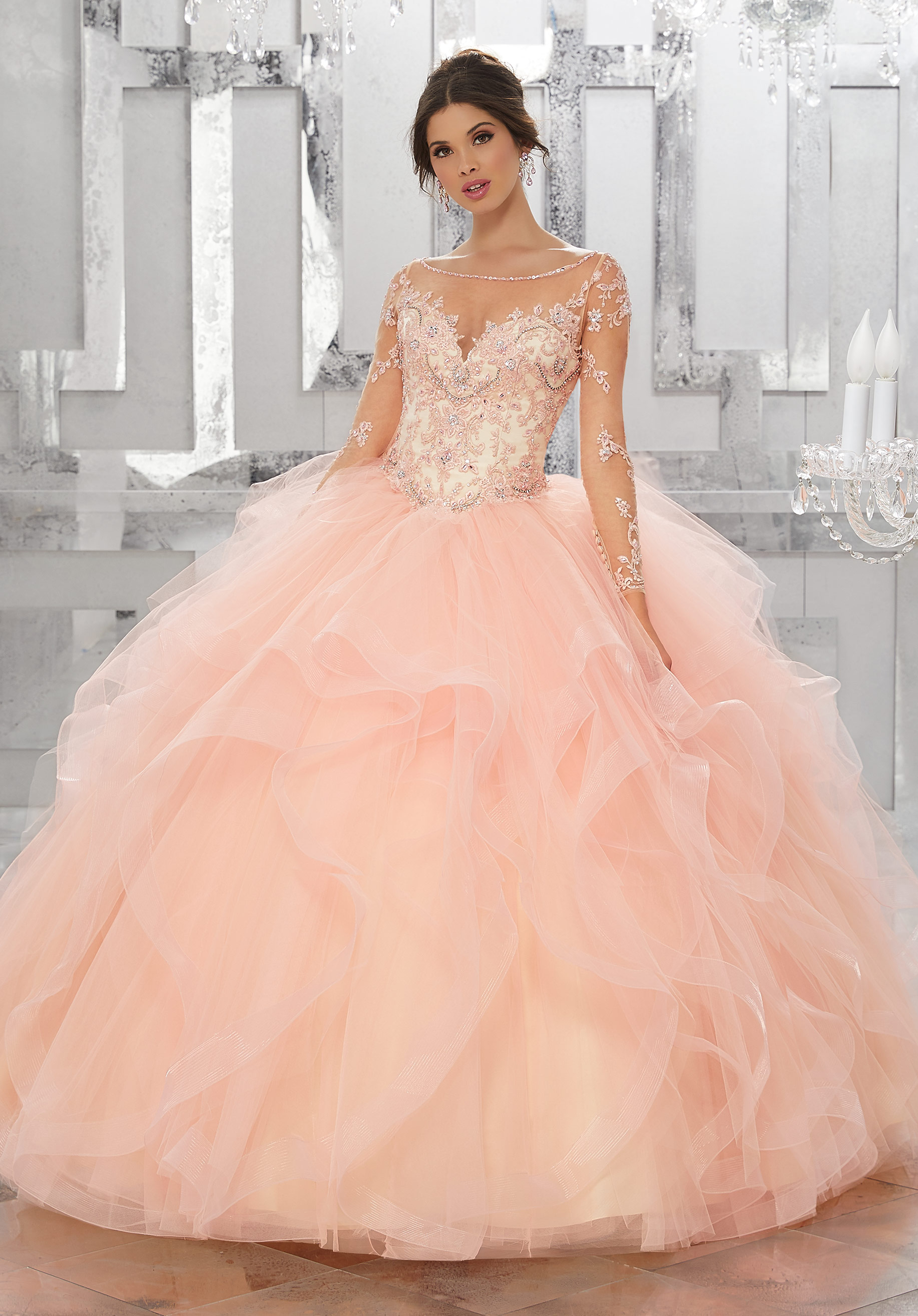 570044ce810 Home   Quinceanera Dresses   Vizcaya Collection   Beaded Embroidery on Net  with Flounced Tulle Ball Gown Skirt