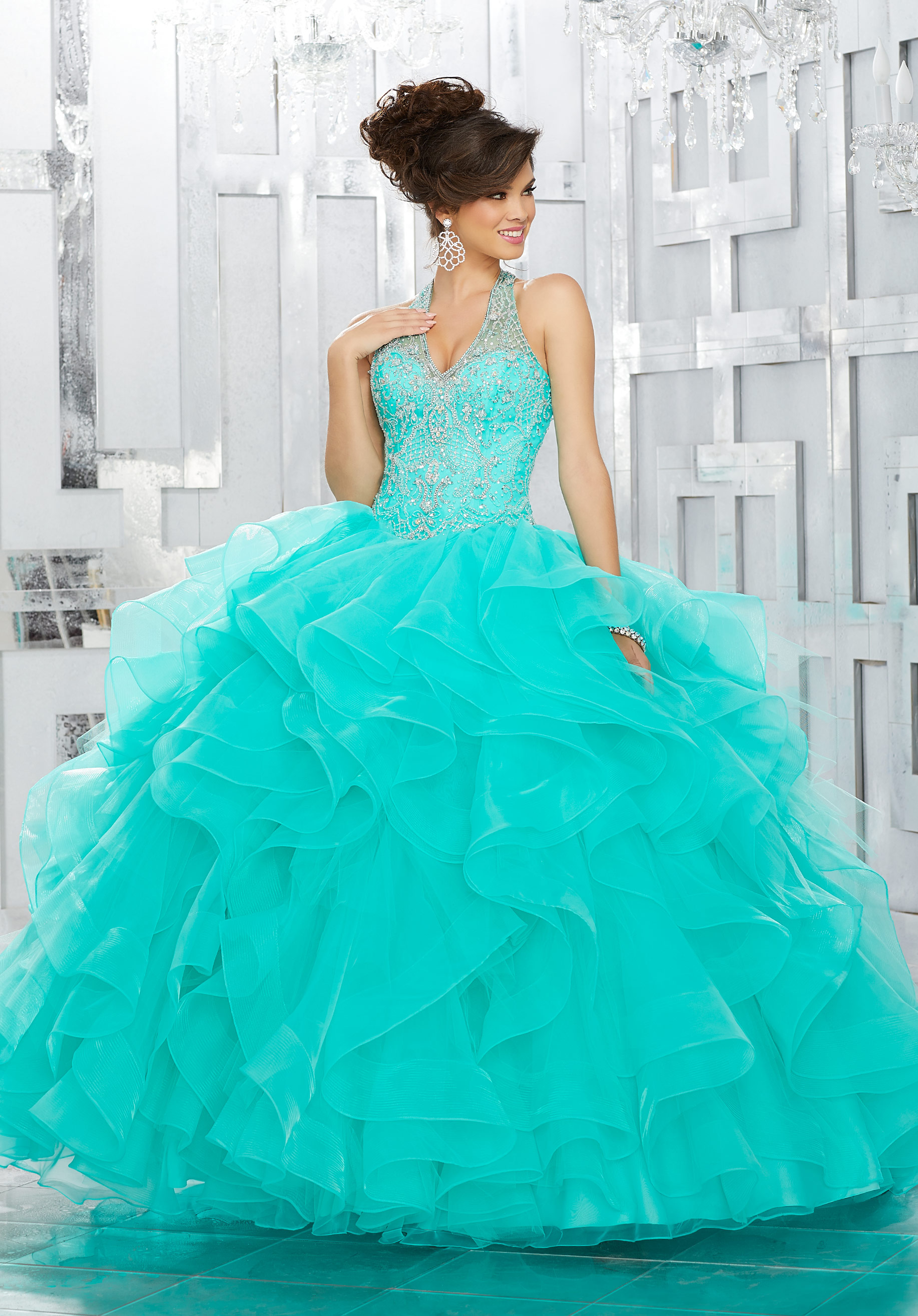 43c378b73 Crystal Beaded Bodice with Flounced Organza Ball Gown Skirt