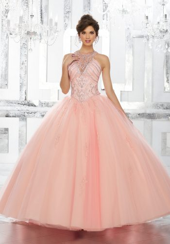 160b943d293 Rhinestone and Crystal Beaded Bodice on Tulle Ball Gown Skirt with Beaded  Appliqu s