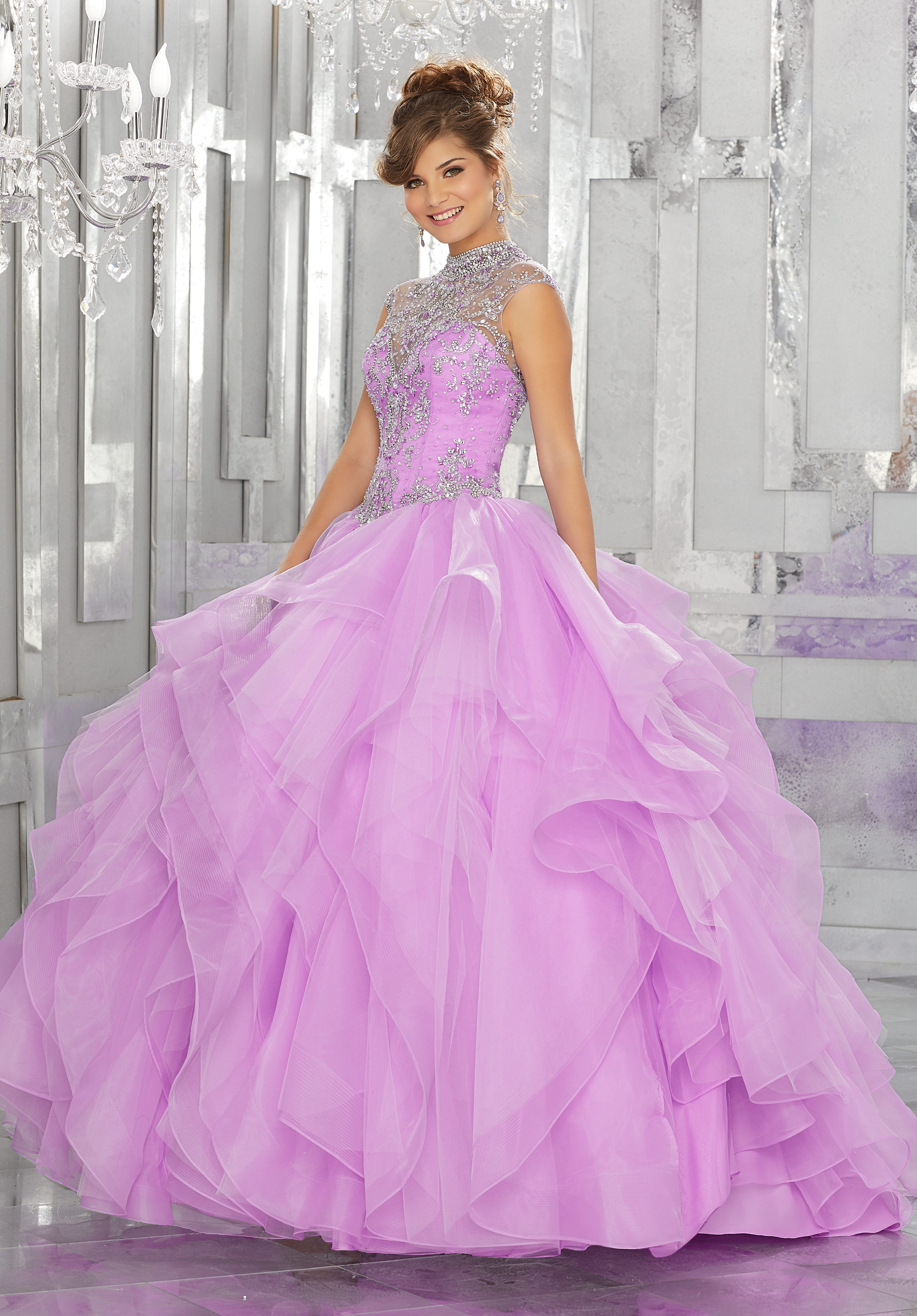 6078f6ff64d Beaded Lace Bodice With Flounced Tulle Ball Gown Quinceanera Dress ...