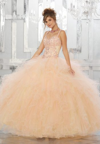 b860c82ab30 Beaded and Embroidered Bodice on a Ruffled Tulle Ball Gown