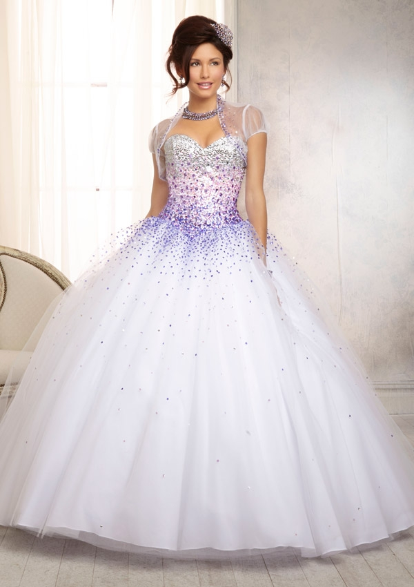 12db638fa Home   Quinceanera Dresses   Vizcaya Collection   Crystal Beaded Satin  Bodice on a Ruffled Tulle Skirt Quinceanera Dress