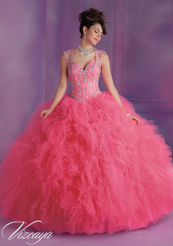 fb1fd028bec Beautiful Ruffled Tulle Quinceanera Dress with Beading