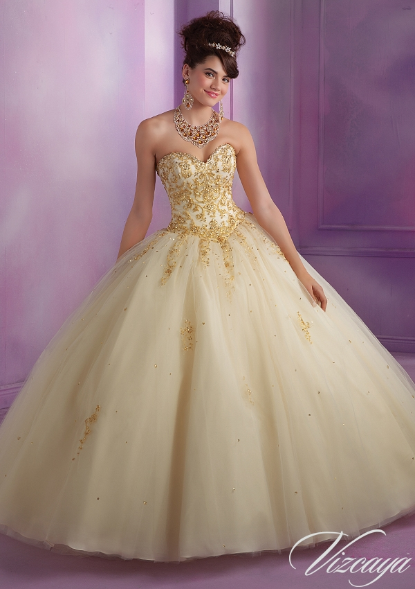 77cc7b049f4 Embroidered Tulle Quinceanera Dress with Beading