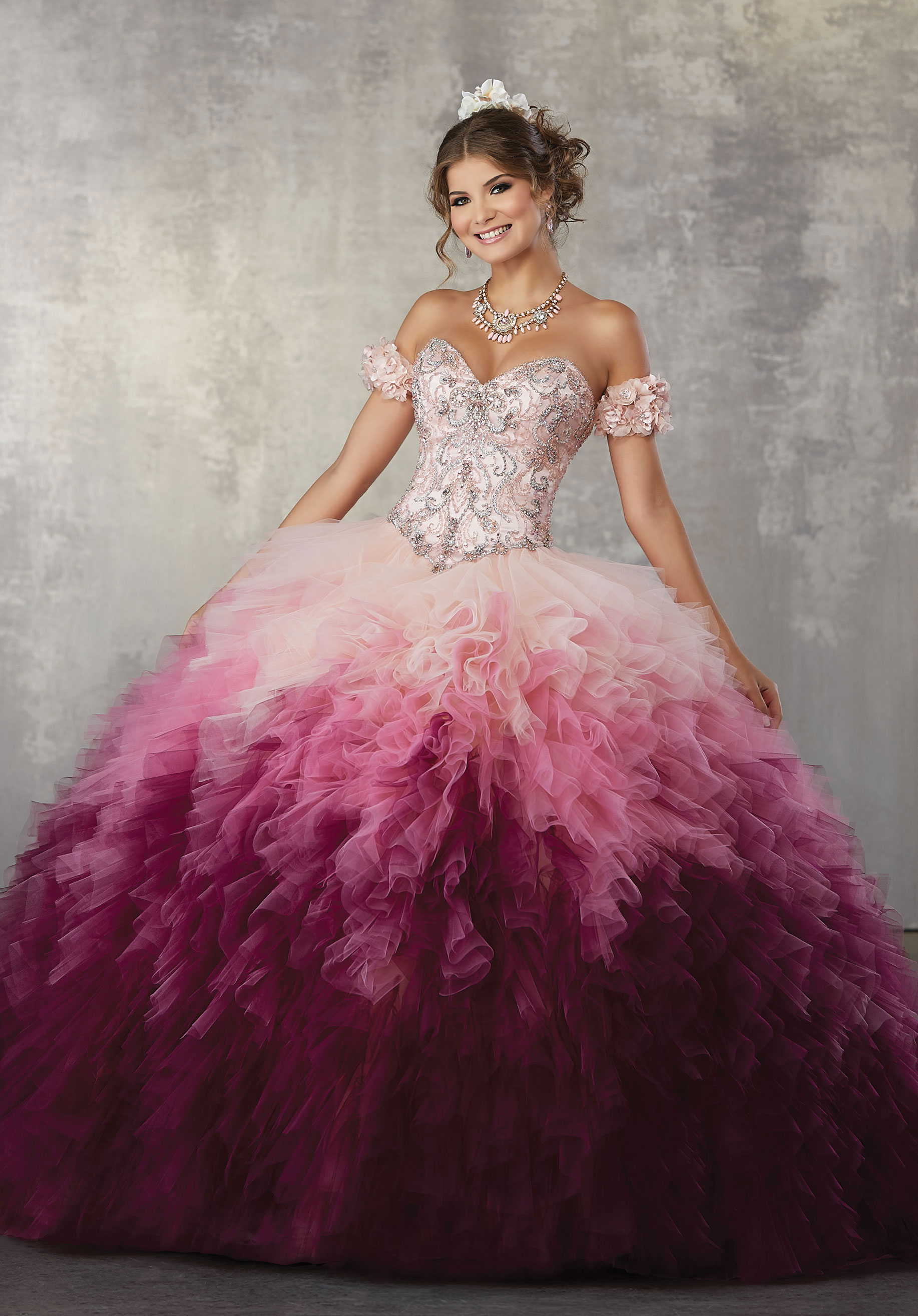 34f767e2c0f Home   Quinceanera Dresses   Vizcaya Collection   Jewel Beaded Bodice on a  Ruffled Ombré Tulle Ballgown
